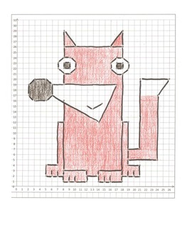 Coordinate Graphing Animal Pictures:  a Fox,  a Bee, & a F