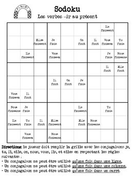 3 Sudoku Verb Puzzles | Regular present tense en français