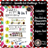 "BUNDLED Editable ""Themed Doodle Art Contests"" 4 in 1 For E"