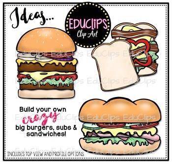 3-in-1 Build A Burger/ Sub/ Sandwich Clip Art Bundle {Educlips Clipart}