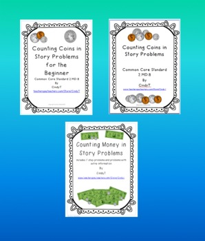 3 in 1 Bundle!  Counting Coins/Money in Story Problems!