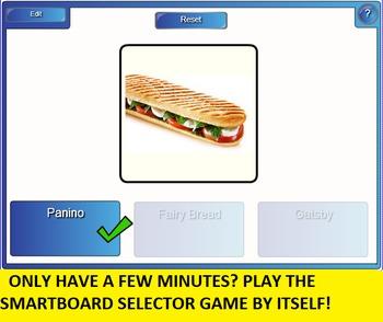 3 in 1: International Sandwich Bingo, SMARTboard Selector and Matching Worksheet