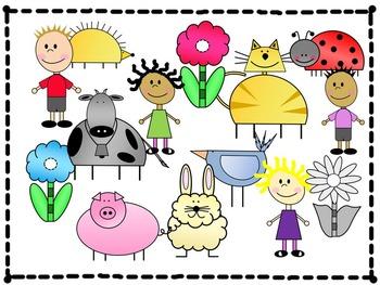 VALUE BUNDLE:Animals & Kids Clipart, Digital Paper,& Borders - Dog, Cat, Cow...