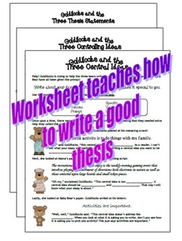 3-in-1 Thesis, Controlling Idea, and Central Idea expository essay worksheets