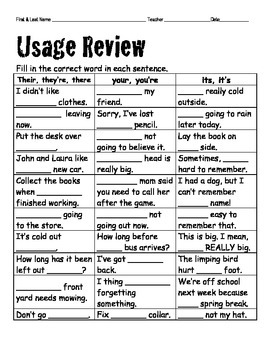 3 in 1 Homonyms Usage Review Quiz with Retake