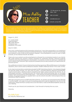 3 in 1 modern photo teacher resume template for MS Word, teacher cv template