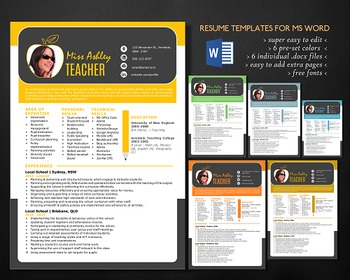 3 in 1 modern photo teacher resume template for MS Word, t
