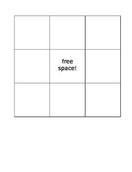 3 in a row Bingo Board