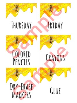 3 in x 3 in Editable Labels - Honeybee Theme - Fits Target Dollar Spot