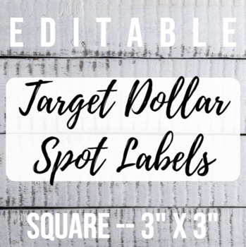 3 in x 3 in Editable Labels - Shiplap Theme - Fits Target Dollar Spot