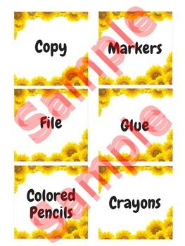 3 in x 3 in Editable Labels - SunflowerTheme - Fits Target Dollar Spot