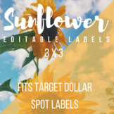 3 in x 3 in Editable Labels - SunflowerTheme - Fits Target