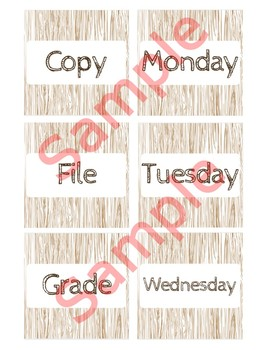 3 in x 3 in Editable Labels - Wooden Theme - Fits Target Dollar Spot
