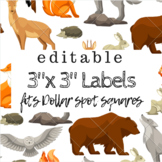 3 in x 3 in Editable Labels - Woodland Theme - Fits Target