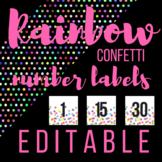 3 in x 3 in NUMBER Labels- Rainbow Confetti Theme - Fits T