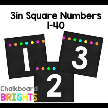 3 inch Square Number Labels {Chalkboard Brights}
