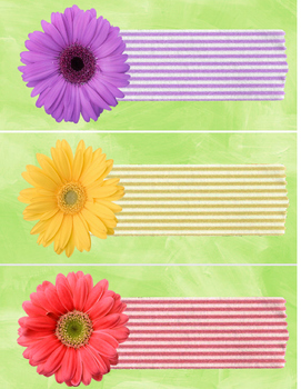 3 large flower editable LABELS - purple yellow hot pink -