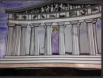 3 layer scenic view Parthenon Ancient Greece Athena project