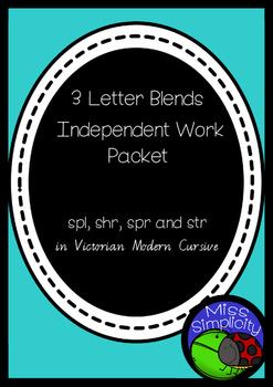 3 letter blends SPR SHR SPL STR INDEPENDENT phonics pack  VIC MOD CURSIVE