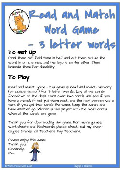 3 letter word Matching Game