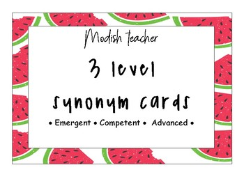 3 levelled synonym cards