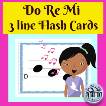 3 line staff Do Re Mi line flash cards