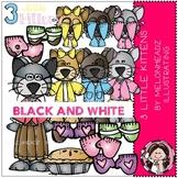 3 Little Kittens clip art - BLACK AND WHITE - Melonheadz clipart