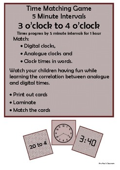 Time - 3 o'clock to 4 o'clock by 5 minute intervals