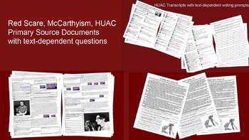 3-pack Red Scare Primary Source Bundle (2 HAUC transcripts, 1 McCarthy Speech)