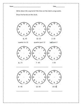 3 pack Telling Time Worksheet Set
