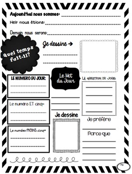 3 pack of Daily Log Journals for Bell Ringer and Routines (French)