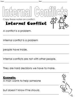 3 page Differentiated Internal Conflict Worksheet; Middle School Special Ed
