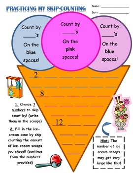 3 page package of various Skip-counting/Patterns Math Worksheets!