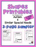 3-Page Sampler of Shapes Worksheets / Printables for Stude