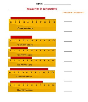 Measuring in centimeters-3 page worksheets-