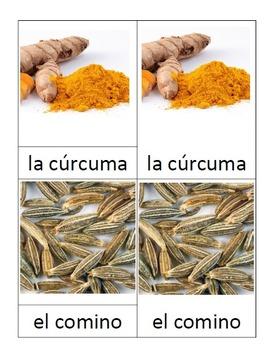 3 part Montessori cards in SPANISH - Hierbas y especias