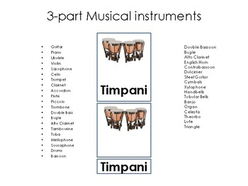 3-part card Musical Instruments