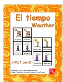 3-part cards El Tiempo/ The weather in Spanish