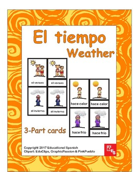3-part cards El Tiempo/ The weather in Spanish