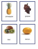 3 part cards, Fruit, English and Spanish, Elementary or Montessori