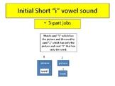 "3-part cards---reading --- Short ""i"" Initial Vowel Sound"