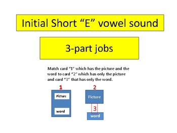 "3-part cards---reading --- Short ""e"" Initial Vowel Sound."