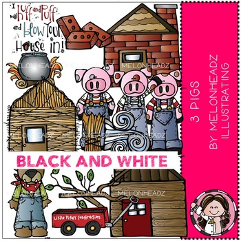 3 Pigs clip art - BLACK AND WHITE - by Melonheadz