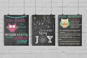 3 poster set as Teacher Christmas Gifts