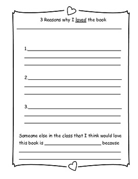 """3 reasons why"" reading response sheet"