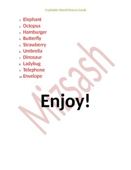 3 syllable word Picture Cards