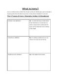 3 types of Irony worksheet
