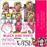 3 Wishes clip art - Genie - BLACK AND WHITE - Melonheadz clipart