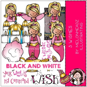 Melonheadz: 3 Wishes clip art - BLACK AND WHITE