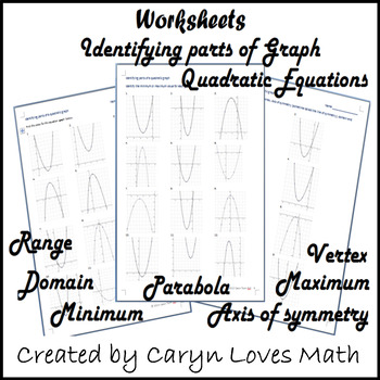 parts of quadratic graphs domain range 3 worksheets by caryn loves math. Black Bedroom Furniture Sets. Home Design Ideas